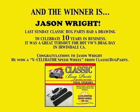 congrats to Jason Wright - 10 yr anniversary drawing